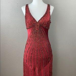 Sue Wong burgundy sequin cocktail maxi dress